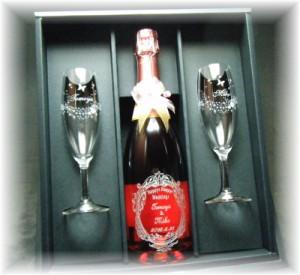 名入れ送料無料【スパークリングワイン・リゴルロゼ750ml&キラキラグラスペア】セット/結婚祝い・記念日プレゼント・クリスマス