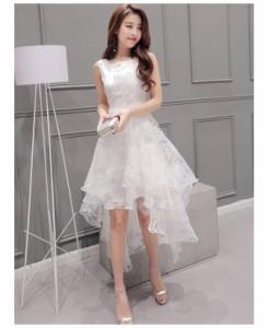 【即納】プリンセス オーガンジー レース☆ フィッシュテール ノースリーブ ドレス/ ワンピース/ホワイト/
