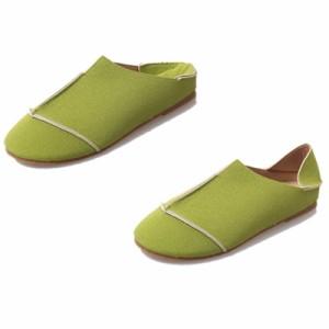 新作秋 スリッポンシューズ フラットシューズ 2Way かかとを折ってサンダルとしても履ける♪スニーカー/靴/ぺたんこ/春夏/レディース