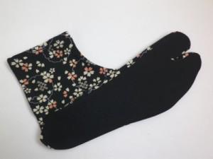 カジュアル着物&袴に 女性ストレッチ柄足袋黒地桜雪輪(22.5〜25.0)