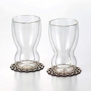 ダブルウォールペアセット 耐熱グラス 二重グラス ペアセット ビールグラス 木製コースター付き / プレゼント ギフト