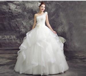 高品質 お得 ウェディングドレス Aライン プリンセス 大きいサイズ  結婚式 披露宴 パニエ ベール グローブ3点セット付 H062