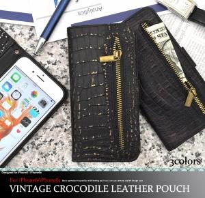 iPhone6/iPhone6S 手帳型(横開き)ポケット付 クロコダイルレザーデザイン アイフォン6/6S用 保護カバー