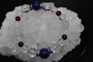 成功のラピス  ローズクオーツ 水晶 ムーン 数珠 ブレスレット 送料無料 パワーストーン 天然石 金運 健康 恋愛