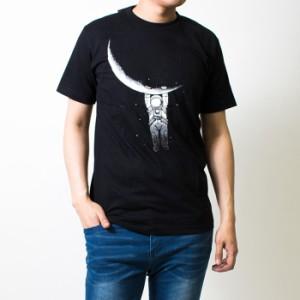 プリント Tシャツ メンズ 半袖 月にぶらさがり カットソー 綿 コットン 春 夏