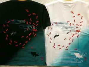 カラクリ魂  和柄 半袖梨地Tシャツ金魚刺繍 KARAKURI
