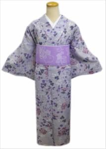 洗える絽(夏物)着物と紗半巾帯(細帯)セット薄グレー地牡丹小花M・L
