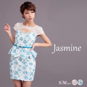 d2ff8ab127b68 Jasmine  SMサイズ  谷間見せスカラップペプラム花柄袖付タイトミニドレス  select
