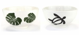 ハワイアンお茶碗 ホヌ柄とモンステラ柄をご用意 ハワイアン好きに大人気のハワイアングッズ