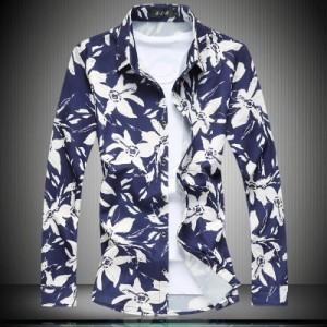 シャツ 大きいサイズ 長袖 総柄 花柄 メンズ カジュアルシャツ 和柄 シャツ ワイシャツ 細身 お兄系