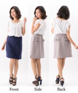【 大きいサイズ あり】リボンポケット・ミディ丈スカート<BLDP-2-08>