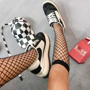 網ストッキング レディース ロングソックス 網靴下 網ストッキング 編み ニーハイソックス チェック柄ストッキング 【F530】