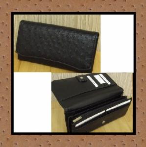 格安価格/オーストリッチ型押し合皮長財布