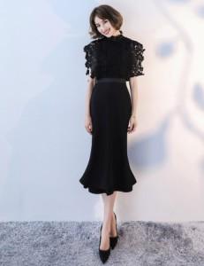 パーティードレス 結婚式 二次会 ワンピース お呼ばれ レディース 半袖 ミモレ丈 フォーマル 大きいサイズ 黒 ブラック シャンパン 刺繍