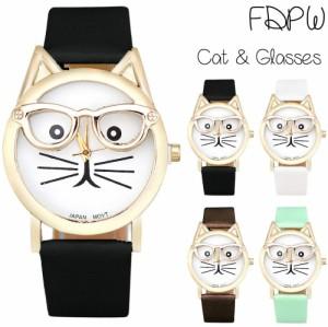 5dcb73fc0c プチプラ 時計 シンプル レザー 革 ベルト 個性的 ビッグフェイス ネコ 猫 ねこ キャット ウォッチ 腕時計