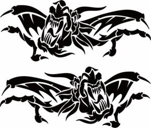 カッティングステッカー 〜 ドラゴン 龍 トライバル 2・14(左右1セット) サイズL 〜 車 バイク オシャレ カッコイイ ワンポイント