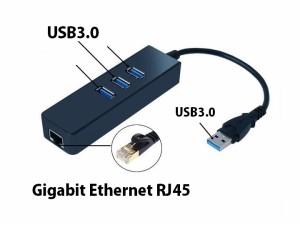 USB3.0/USB-C to 3ポート ハブ付 ハイスピード ギガビット 有線 LANアダプタ/10/100/1000BASE-T Gigabit イーサネット RJ45 2タイプ選択