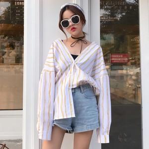 韓国 緩い ストライプ 薄い 長袖 日焼け防止衣類 薄い