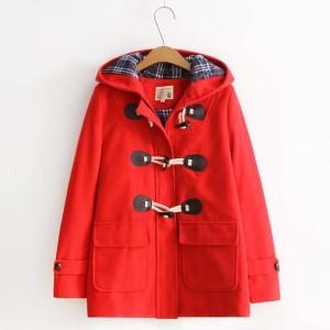 大学生風 ホーンボタン フード付き キルト 厚いコート