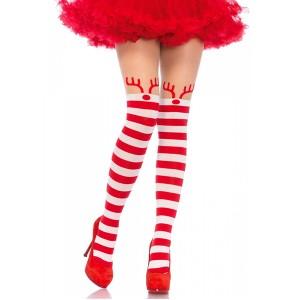 ストッキング クリスマス サンタ ストッキング サンタコス セクシー コスプレ 網タイツ トナカイ ボーダー 赤 激安 コスプレ レディース