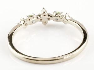 指輪 リング フラワー ダイヤモンド ホワイトゴールドk18 ピンキーリング 華奢リング 重ね付け 18金 レディース 選べる天然石