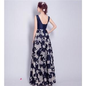 上品★パーティードレス ウェディングドレス ロングドレス 花柄 結婚式 お呼ばれ 女子会 披露宴 発表会 ネイビー