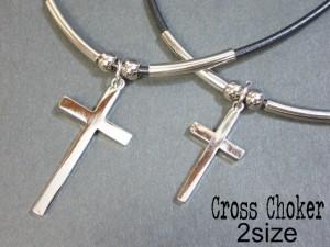 チョーカー クロス 十字架 シルバー シンプル 【只今セール中!】 V系 バンギャ ロック 五百均 M-723