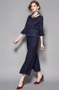 2017SS新作パーティードレス パンツドレス ツーピース スーツ セットアップお出かけ二次会袖フリル気品溢れる2枚セット[S/M/L][紺]