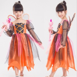 039a5fca672f4 ハロウィン 子供コスチューム キッズ かぼちゃ妖精ドレス ハロウィン衣装 仮装 110 120