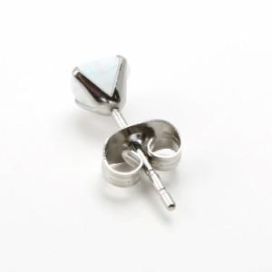 ステンレスピアス ミスティックオパールハートステンレスピアス(両耳用)金属アレルギー 316L