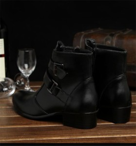メンズ ショートブーツ シークレットシューズ 6cm 身長UP  サイドジップ レザーブーツ イギリス カジュアル 靴  インヒール