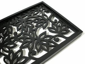 壁掛け木彫りのレリーフ C ロータス花模様 ブラック120 [H.120.5cmx35cm]]バリ雑貨 アジアン雑貨