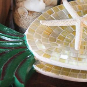 【インテリア雑貨】 翌日出荷  パイナップルグラストレー 小物置き パイン モザイク ハワイ