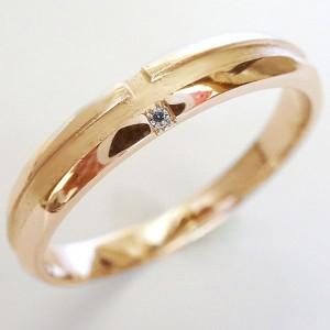 クロス ダイヤモンド ピンクゴールドk18 ペアリング 2本セット 結婚指輪 マリッジリング K18pg