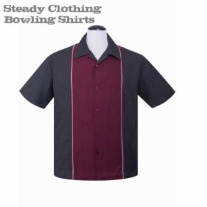 送料無料【Steady Clothing】メンズ/半袖シャツ/ブランド ロック/ロカビリー ボウリングシャツ チャコール×ワイン