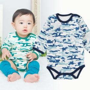 14d7a386e8ecc ベビー服 赤ちゃん 服 ベビー ロンパース 男の子 70 80 90 綿 恐竜迷彩長袖かぶりロンパース
