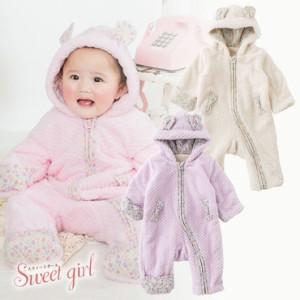 c155960e857d0 ベビー服 赤ちゃん 服 ベビー カバーオール 女の子 70 80  スウィートガール うさみみフード付き長袖