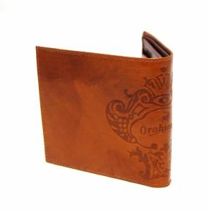 【正規品】【当店別注品】 オロビアンコ Orobianco FIRIPPO-13 1324 牛革 二つ折り財布(小銭入れあり)  TRILOGIA ブラウン