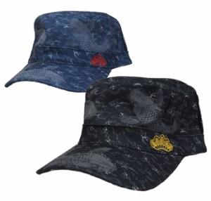 和柄 鯉プリントツイルメッシュワークキャップ レールキャップ メンズ レディース 帽子  exas