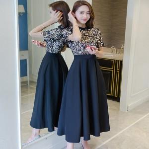 韓国 花柄レース 半袖 ドレスワンピース マキシワンピース ロングドレス ブラック