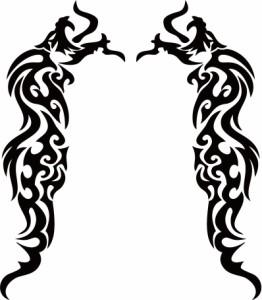 カッティングステッカー 車 バイク オシャレ カッコイイ ワンポイント【ドラゴン 龍 トライバル 2・9(左右1セット)】【メール便】