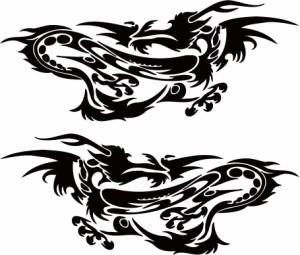 カッティングステッカー 車 バイク オシャレ カッコイイ ワンポイント【ドラゴン 龍 トライバル 2・23(左右1セット)】【メール便】