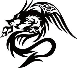 カッティングステッカー 〜 ドラゴン 龍 トライバル ・4・6(左向き) 〜 車 バイク オシャレ カッコイイ ワンポイント カスタム カー
