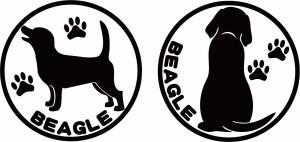 カッティングステッカー 〜 ビーグル  (横後1セット) 〜 車 バイク 愛犬 カワイイ 貼るだけ 手軽 カスタム カー デカール (D)