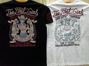 エヴァンゲリヲンXLOWBLOW KNUCKLEコラボ 半袖Tシャツ 2GUNS GIRL REI