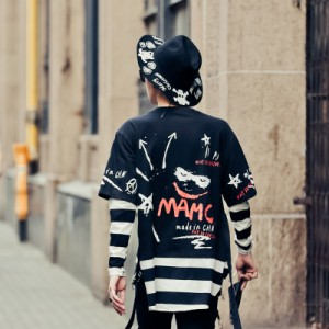 ヒップホップロンT秋冬アウトドア B系ヒップホップストリート系のメンズUネック長袖Tシャツ大きいサイズ