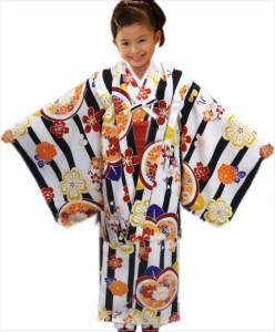 子供用キッズジュニア女の子洗える着物5点セット白色地黒ライン桜橘古典花 56歳・78歳・910歳