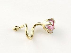 ピアス メンズ キャッチのいらないピアス ピンクトルマリン イエローゴールドk18 シンプル 18金 10月誕生石 キャッチナッシャー 宝石