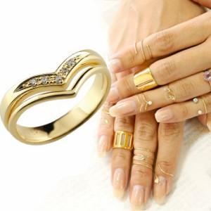 指輪 ファランジリング 2連リング ダイヤモンド イエローゴールドk18 ミディリング 関節リング ピンキーリング V字リング レディース