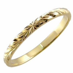 指輪 ピンキーリング ハワイアンジュエリー ハワイアンリング イエローゴールドk18 地金リング 18金 k18yg ストレート2.3